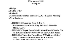 Agenda for 2/4/2021 Planning and Zoning meeting