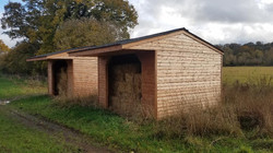 Twin field shelters in Wiltshire