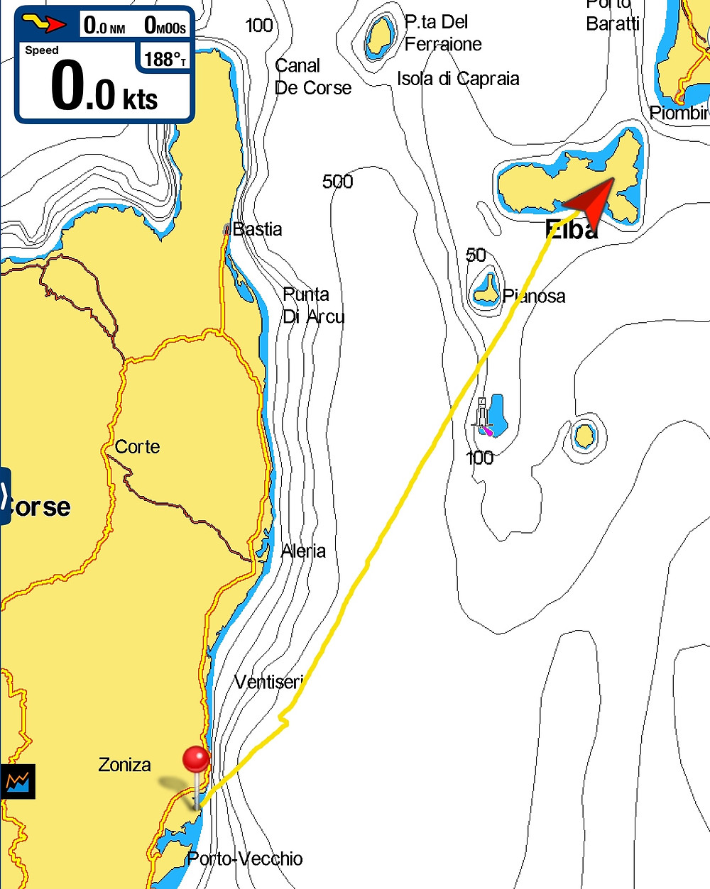 Track of trip from Corsica to Elba