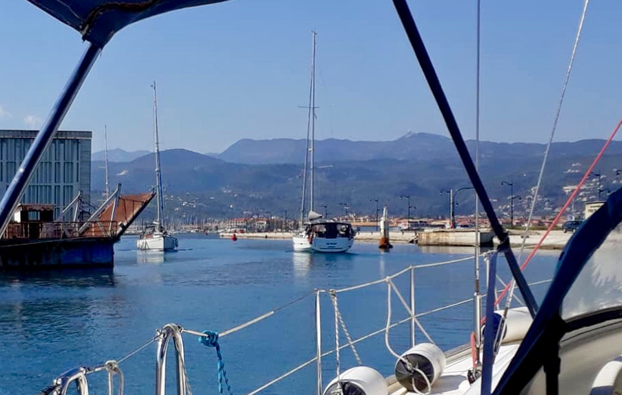 Lefkas Floating Bridge - The Dream crossing the channel (View from Festina Lente our friends yacht)