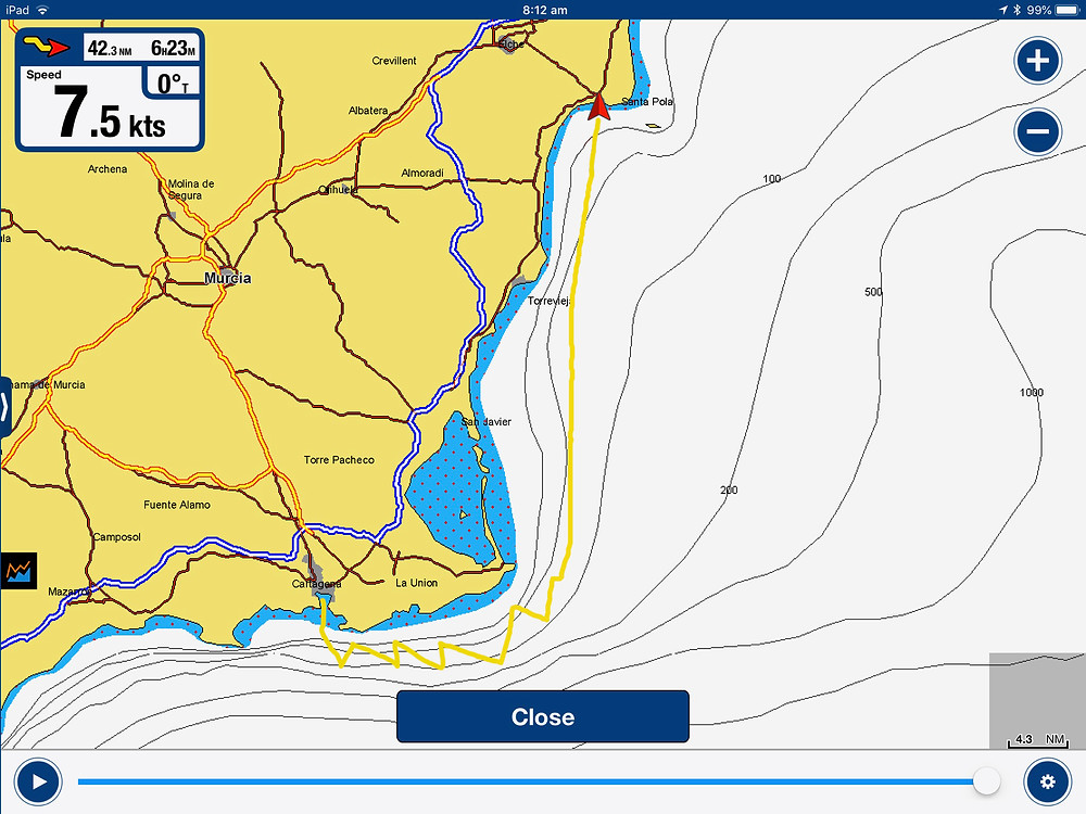 Navionics print of the route
