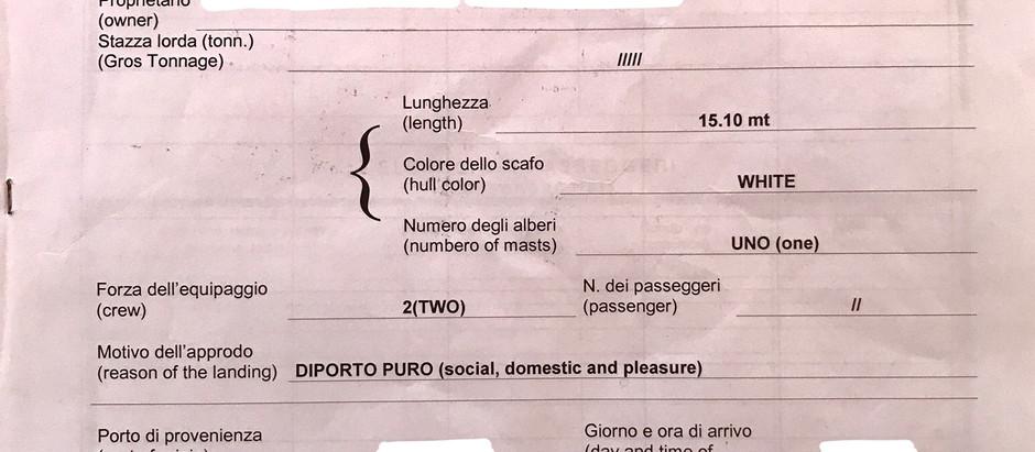 Italy - Costituto in arrival per il naviglio da diporto (ships arrival declaration/transit log)