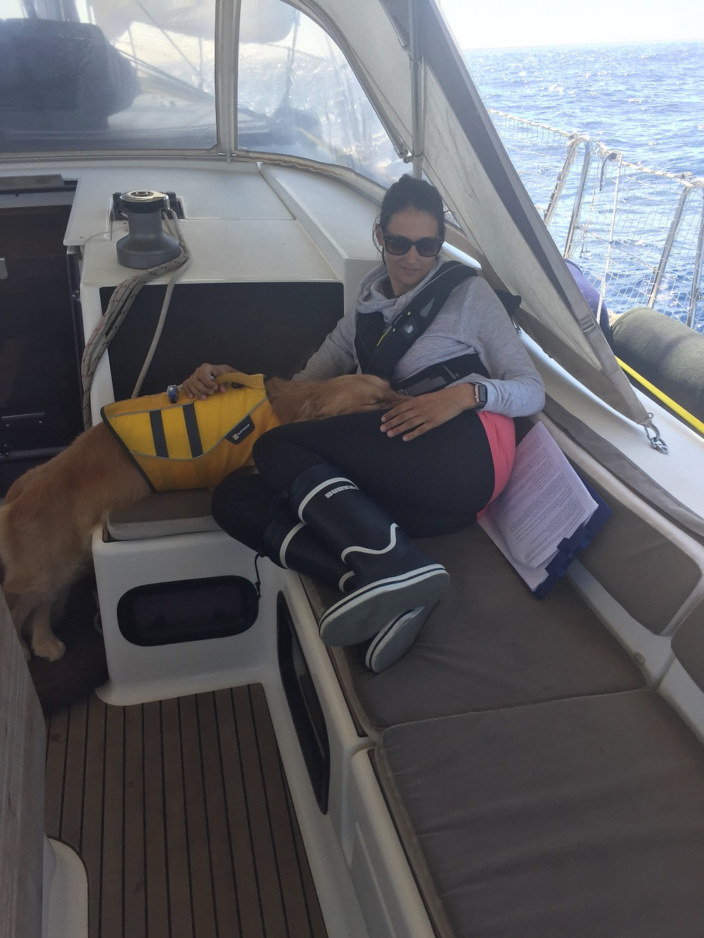The Co-captain and Ella enjoying cuddles on our first sails