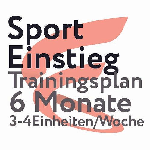 Trainingsplan Sporteinstieg / 6 Monate / 3-4 Einheiten/Woche