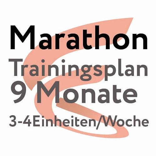 Trainingsplan Marathon / 9 Monate / 3-4 Einheiten/Woche