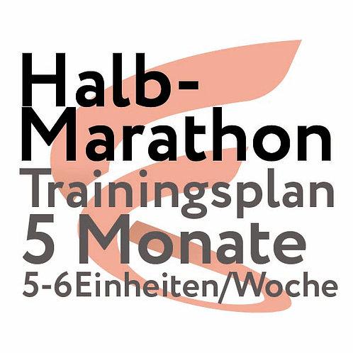 Trainingsplan Halbmarathon / 5 Monate / 5-6 Einheiten/Woche
