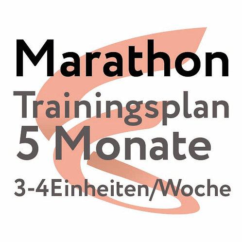 Trainingsplan Marathon / 5 Monate / 3-4 Einheiten/Woche