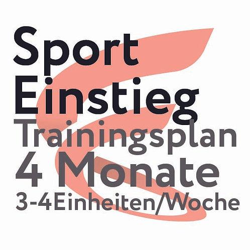 Trainingsplan Sporteinstieg / 4 Monate / 3-4 Einheiten/Woche