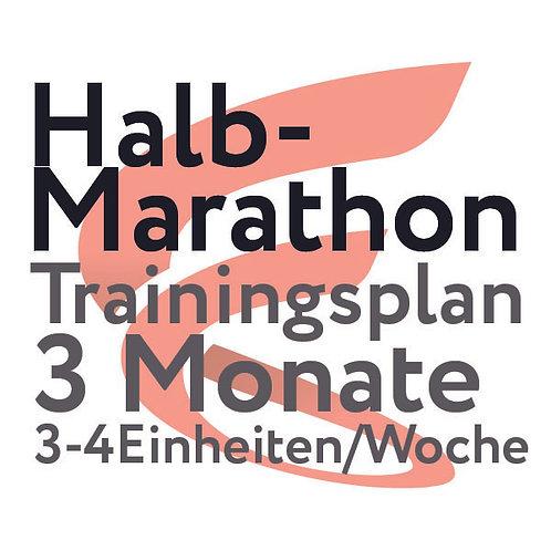 Trainingsplan Halbmarathon / 3 Monate / 3-4 Einheiten/Woche