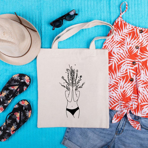 Plant face girl totebag