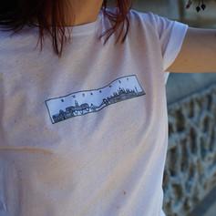 Budapest minimal mintás póló, totebag