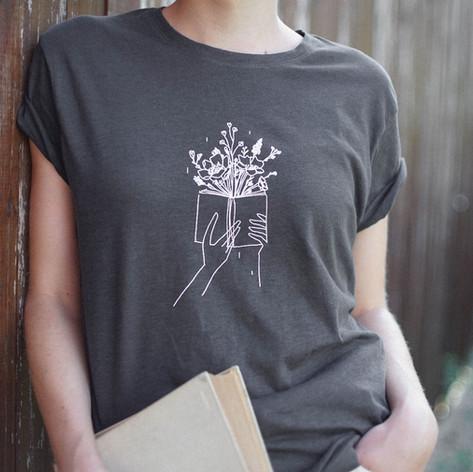 Könyv virág póló, bookworm t-shirt, tote bag