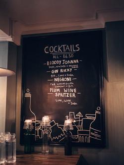 Blue Jo's Cocktail board