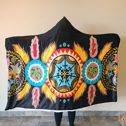 Mi'gmaq Unity Hoodie Blankets by Tracey Metallic
