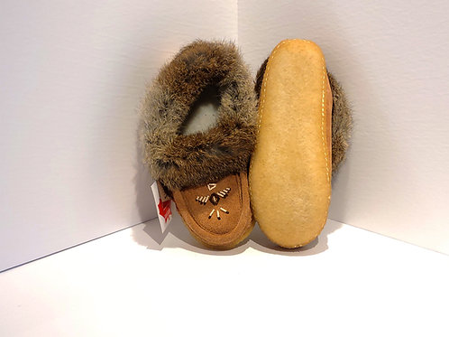 Women's Moccasin, Fur Lined with Sole - Moka Colour