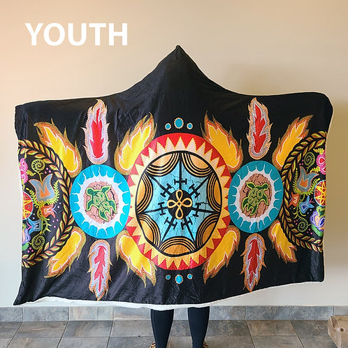 Mi'gmaq Unity Youth Hoodie Blankets by Tracey Metallic