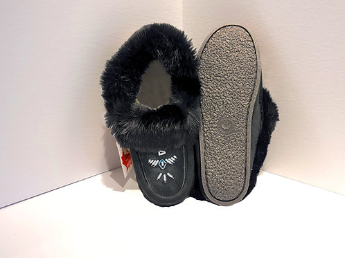 Women's Moccasin Fur Lined with Sole - Black Suede Colour
