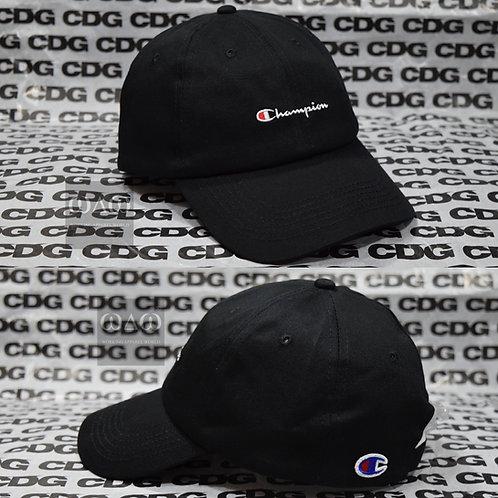 日版Champion 刺繡 OG Text Logo Dad Cap - Black