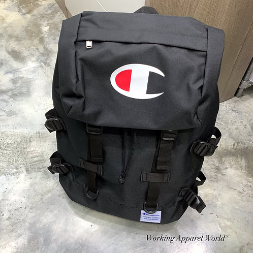 日版Champion Travel Text Logo Backpack - Black