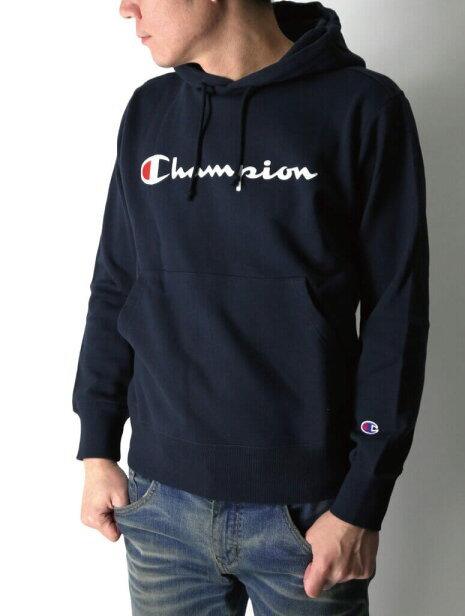 日版 Champion Text Logo Sweater Hoodie