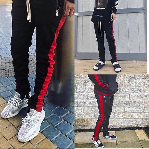 MNML Track Pant - Black/Red-Stripe