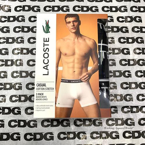 ●預訂貨品● Lacoste Tagless Logo Men's Cotton 彈性 Classic Boxer Brief 3件裝