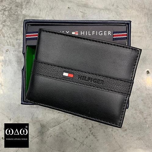 Tommy Hilfiger Small Logo Middle Stripe Wallet - Black