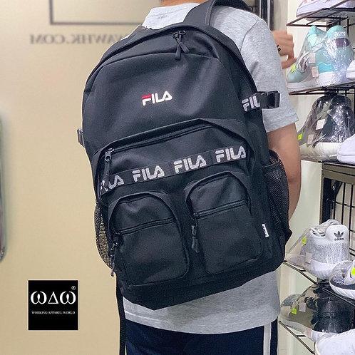 日版 Fila Multi Pocket Tape Logo Backpack - Black
