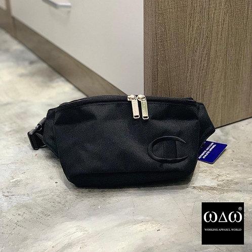 日版  Champion 撞色 Logo Waist Bag - Black
