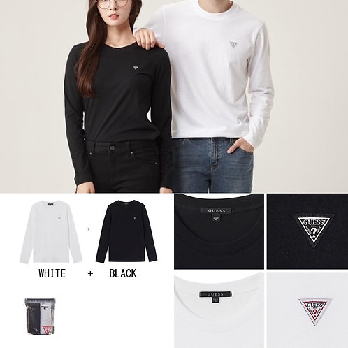 ●預訂貨品● Guess Small Logo L/S Tee - 2件裝 (黑色+白色)