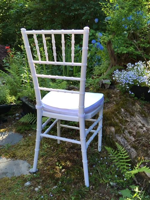 White Resin Chiavari Chair& White Soft Cushion