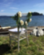 Our white Chiavari chair at the ocean on the Sunshine Coast in British Columbia