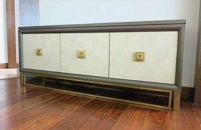 Custom Buffet Brass Leather Doors