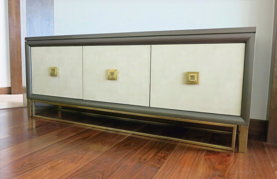 Custom Buffet Brass Leather Doors