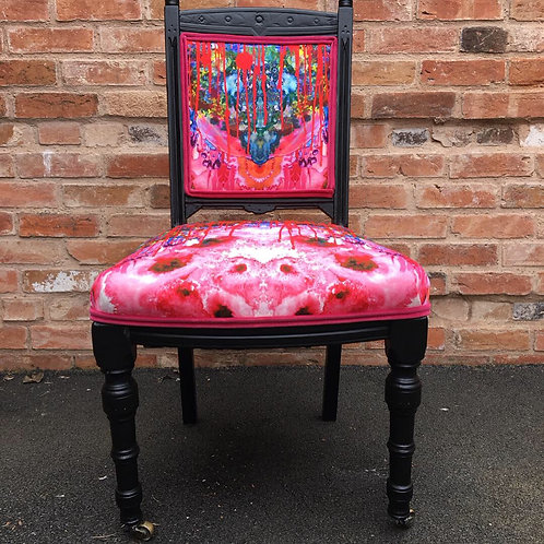 Victorian Lounge chair with Timorous Beasties Thunderblotch fabric