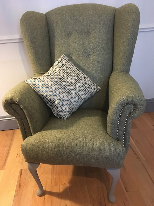 Harris Tweed Wingback armchair / fireside chair
