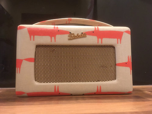 Roberts Radio DAB re-covered with Scion Mr Fox oilcloth fabric