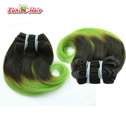 Ombre Hair piece #1B/Blue 8inch Brazilian Body Wave Hair Short Weave Hair Weft B