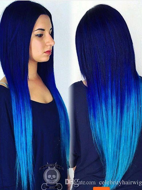 dark blue ombre light blue natural straight glueless lace front wig middle part