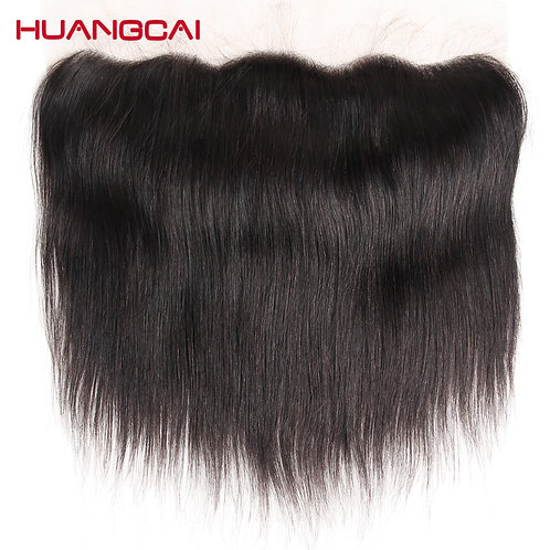 HuangCai lace frontal closure 100% straight human hair 13x4inch 130% density