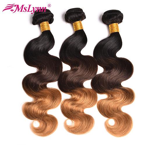 Mslynn Hair 3 Tone Ombre Hair Bundles Brazilian Body Wave 1 Bundle Deals 1B 4/27