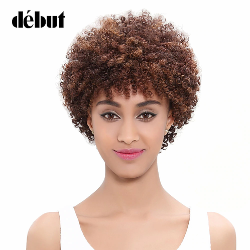 Debut Wigs Human Hair Short Curly Wigs For Black Women Afro Kinky Curly Remy Omb