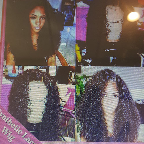 lace front afro kinky curly wig with baby hair