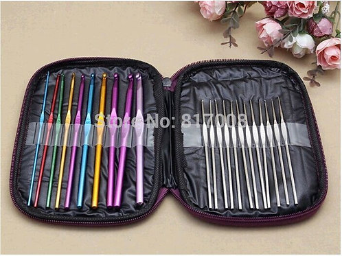 One set include 22 pcs.   Stainless steel crochet size: