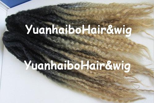 20inch folded black/blonde kanekalon synthetic kinky twist ombre marley braid