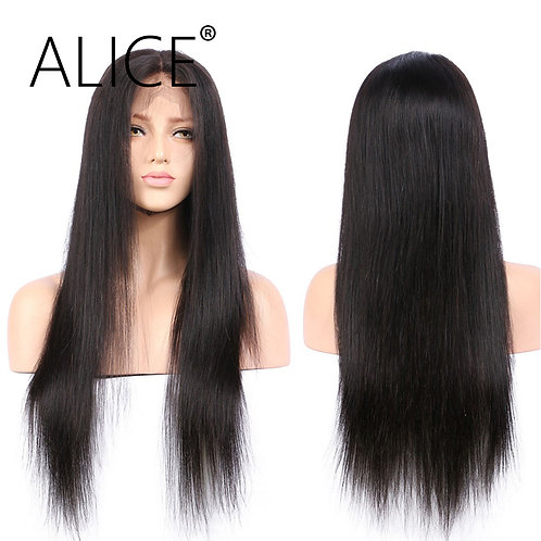 ALICE Silky Straight Brazilian Full Lace Human Hair Wigs With Baby Hair Remy Hai