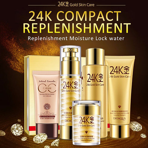 BIOAQUA 5pcs Skin Care Pure 24k Essence Set Moisturizing Whitening Cream Lotion