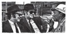 John Belushi, Dan Akroyd (The Blues Brothers) & John Lee Hooker