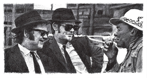 John Belushi, Dan Akroyd (The Blues Brothers) & John Lee Hooker