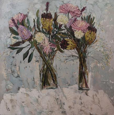 Dahlias, Chrysanthemums and Black-beard sugarbush